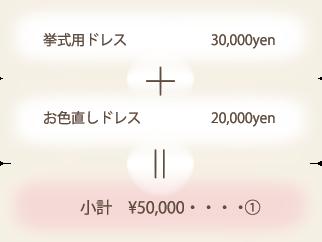 挙式用ドレス 31,500yen + お色直しドレス 21,000yen = 小計 \52,500・・・・①